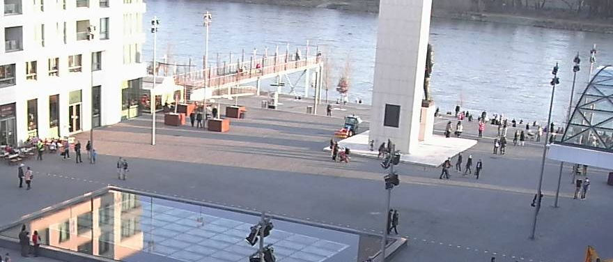 It's the first day of spring in Bratislava, and people start pouring in Eurovea and the Danube river waterfront.